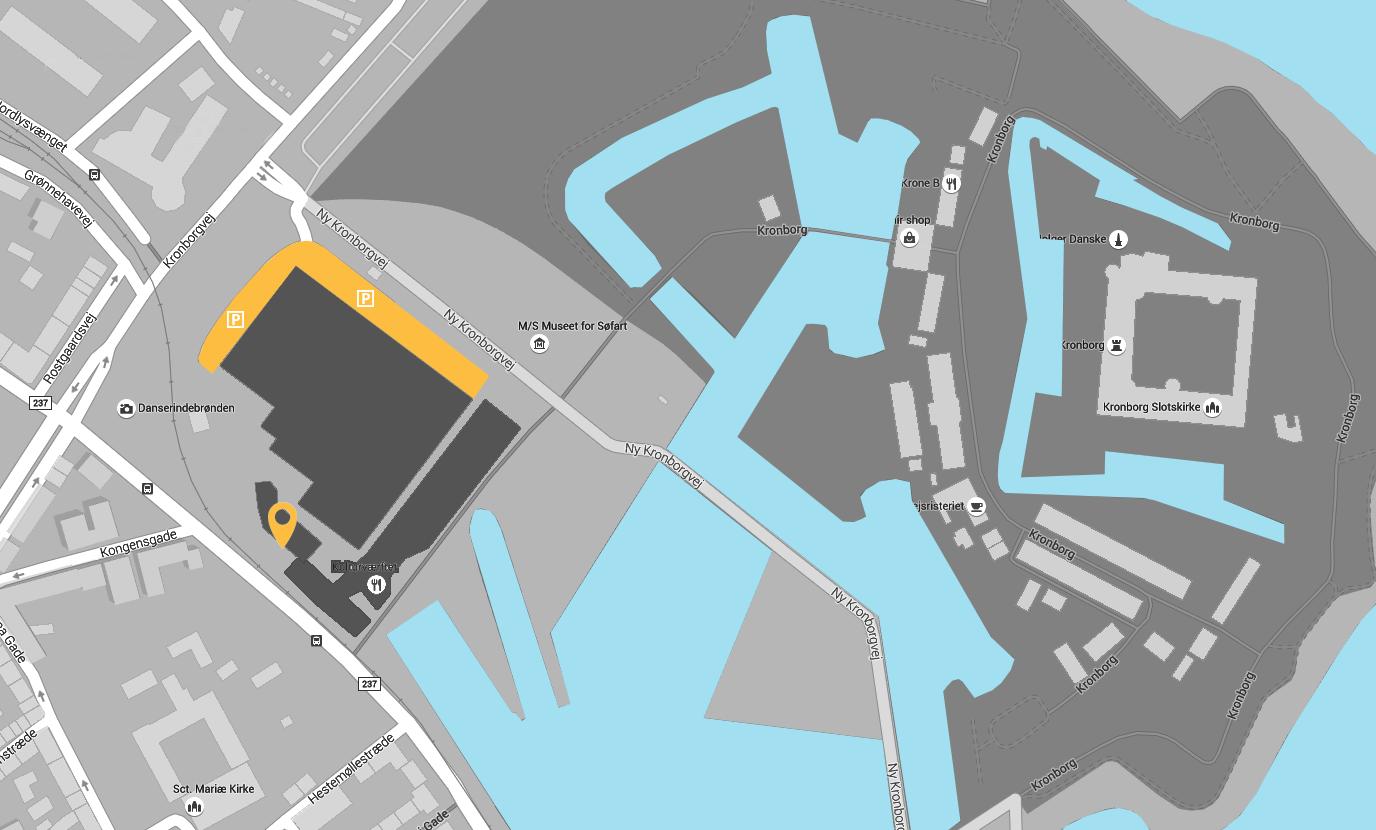 Her finder du gratis parketing i området omkring Searchia og Kronborg Slot i Helsingør